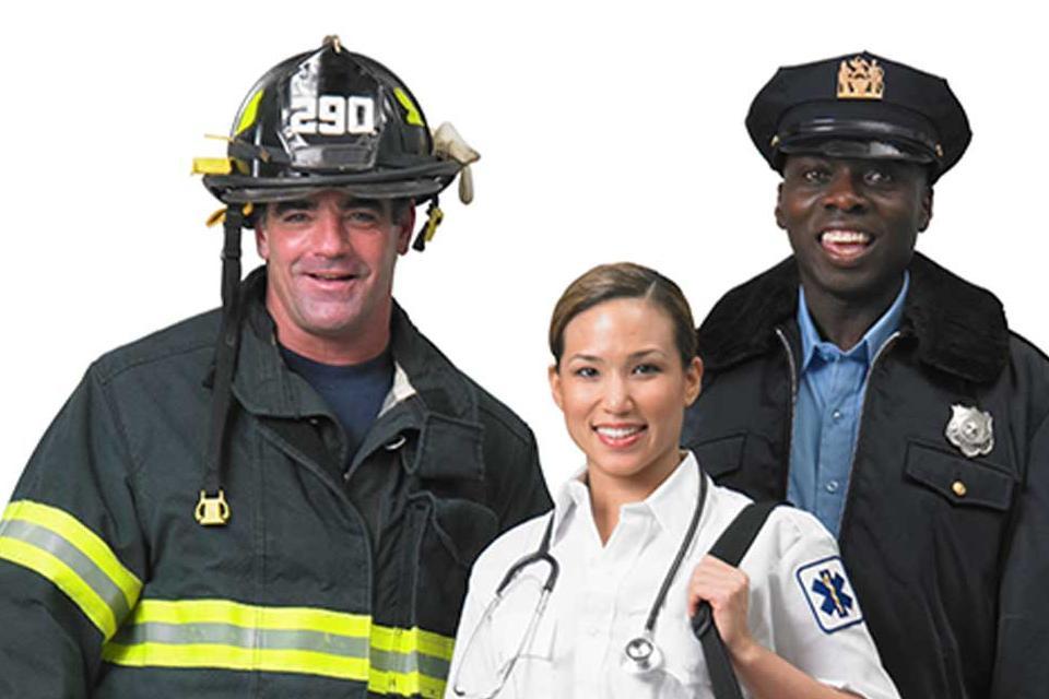 FireFighter, EMT/Paramedic, and Police Officer Group Shot