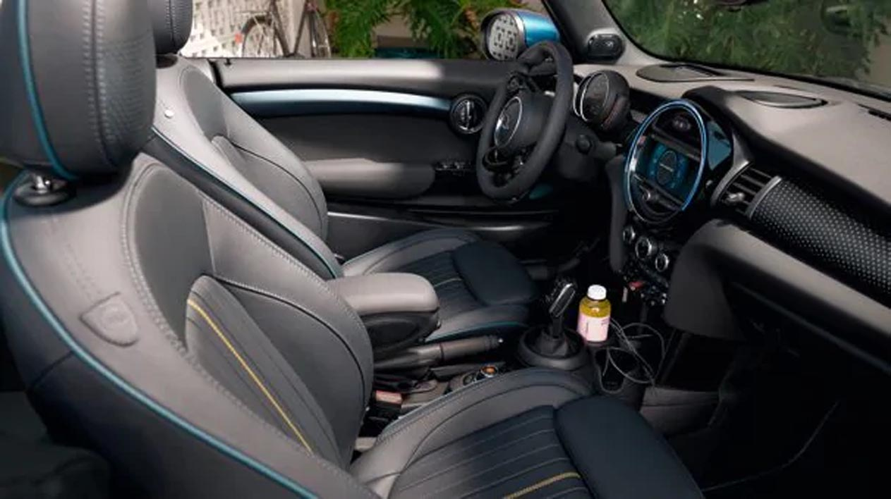 The interior and two seats inside the MINI Cooper S Convertible Sidewalk Edition