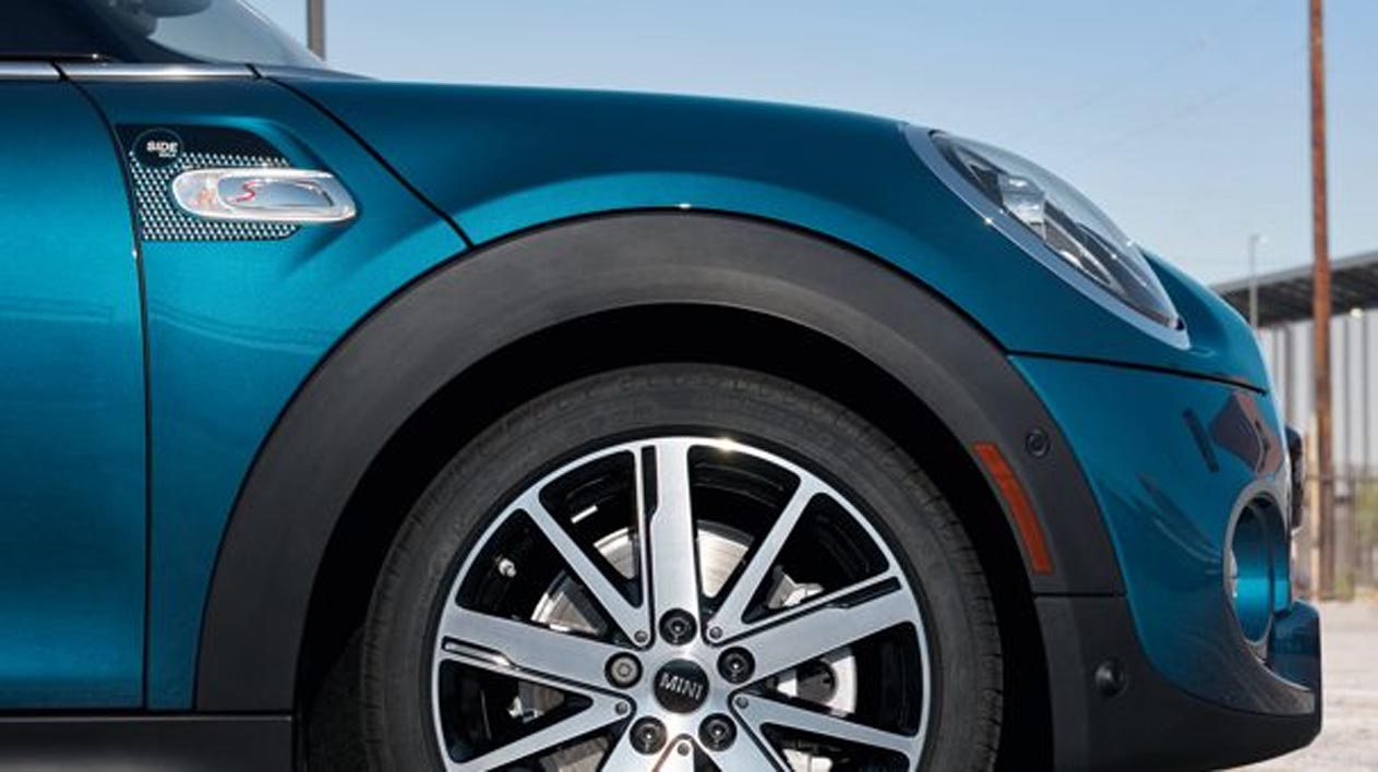 A closeup of the MINI Cooper S Convertible Sidewalk Edition from the side of the car.