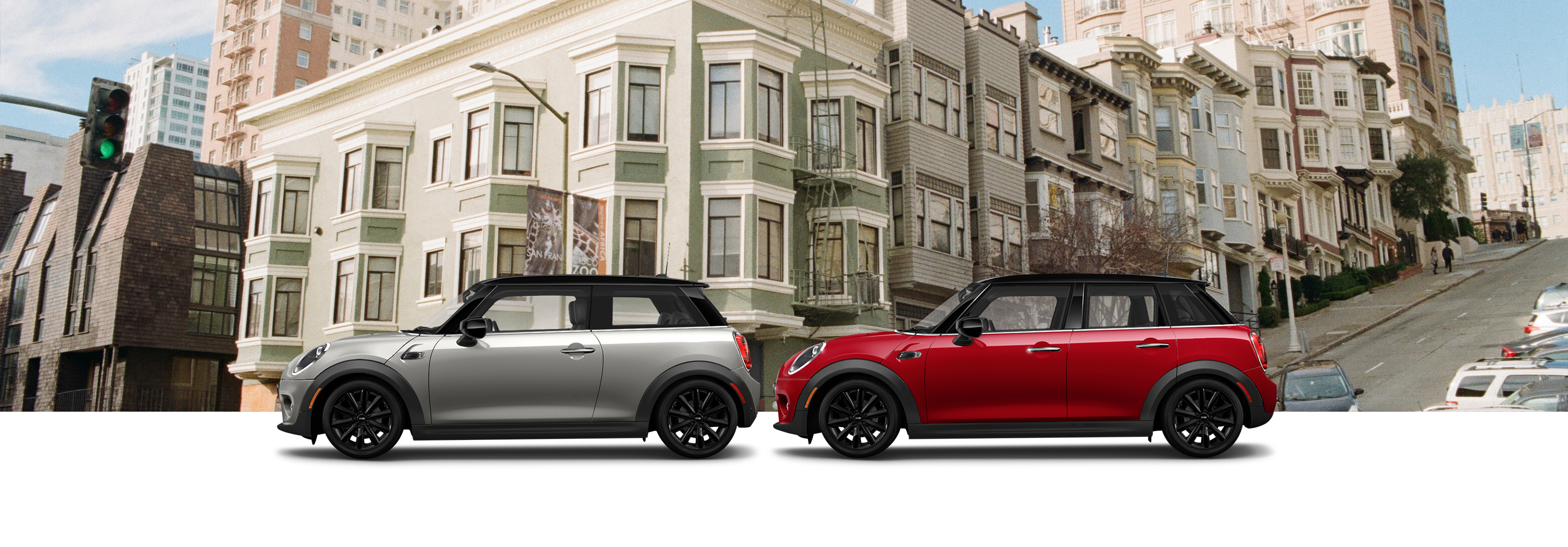 Oxford Edition MINI  Cooper Hardtop  2 Door and Oxford Edition MINI Cooper Hardtop 4 Door in front of residential area of a city.
