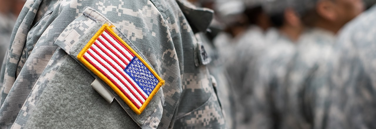 Military Uniform with an American Flag patch
