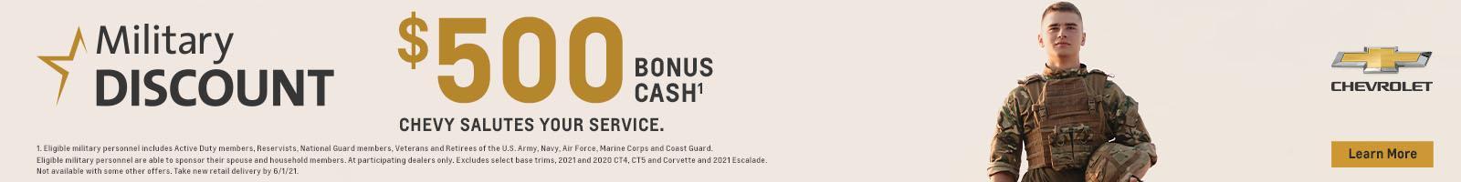 Military Discount. $500 bonus cash.
