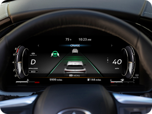 Dashboard close-up of INFINITI QX60 safety features.