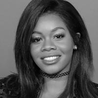 Black & white portrait of Gabby Douglas.