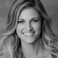 Black & white portrait of Erin Andrews.