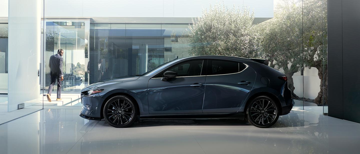 Gray Mazda3 Hatchback on display