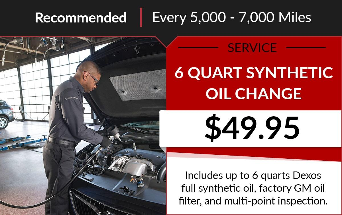 Buick GMC 6 Quart Synthetic Oil Change Service Special Coupon