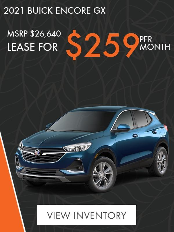 2021 Buick Encore GX LEASE $259/month for 36 months. $1000 due at signing