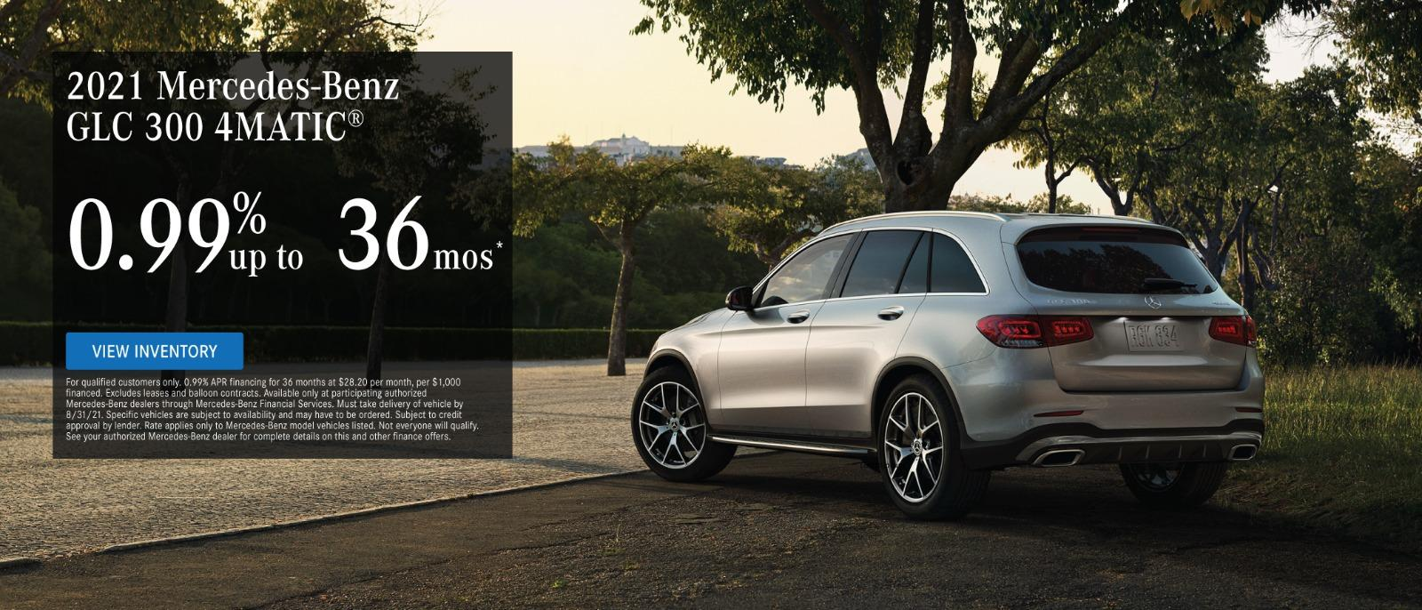 2021 Mercedes GLC 300 4automatic 0.99% up to 36 months