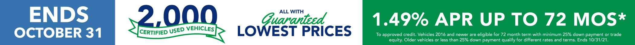2,000 Certified Used Vehicles All With Guaranteed Lowest Prices